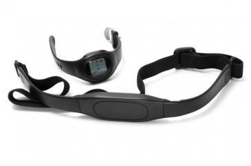 watch and chest strap of a heart rate monitor for marathon training