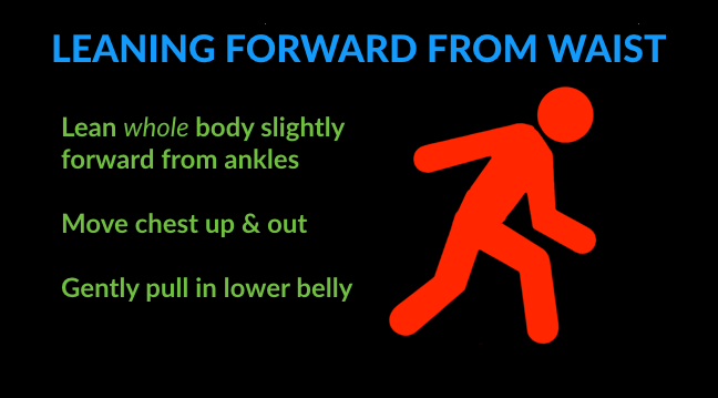 running technique tips for leaning forward from waist