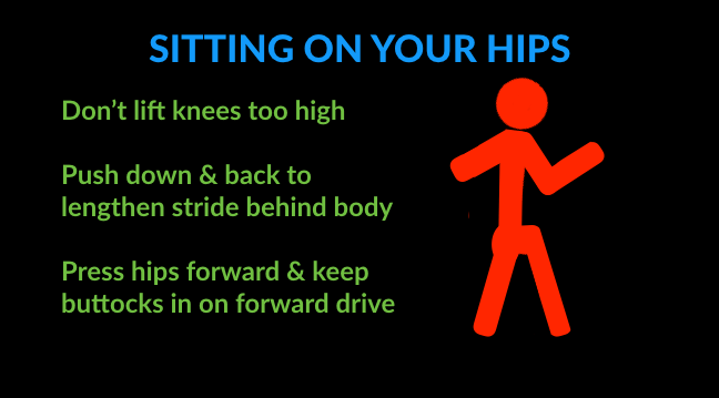 running technique tips for sitting on your hips