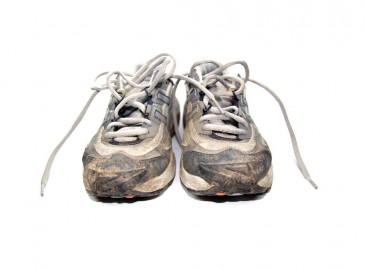 worn out marathon training shoes